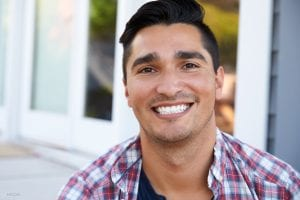 Smiling Young Male Model in Checkered Shirt
