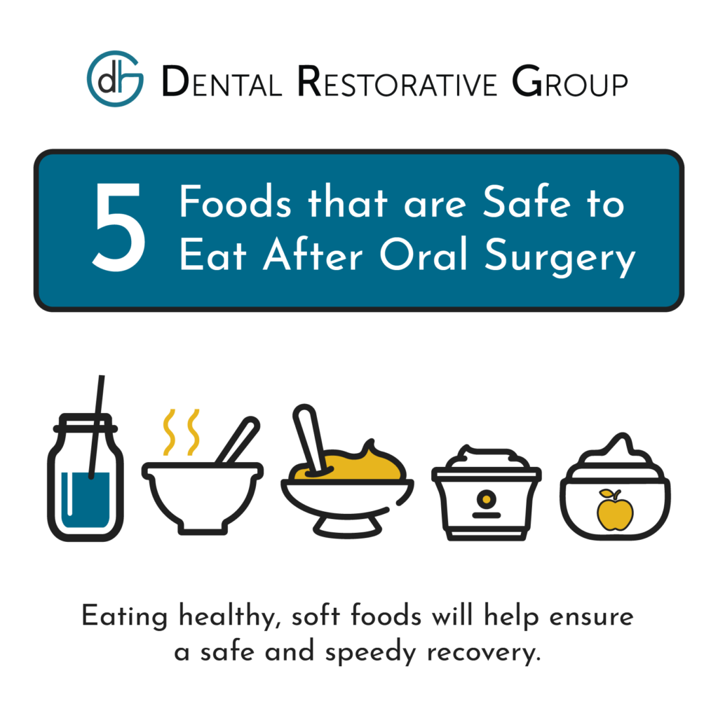 Graphic with Icons Showing 5 Foods Safe to Eat After Oral Surgery